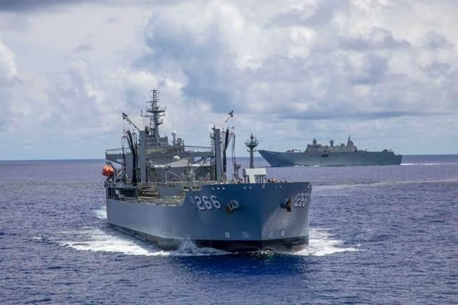 澳洲积极响应美国的南海自由航行政策,俨然是美国在亚洲最坚强的盟友。图为澳洲海军舰艇与美军进行演练。(图/澳大利亚广播公司)