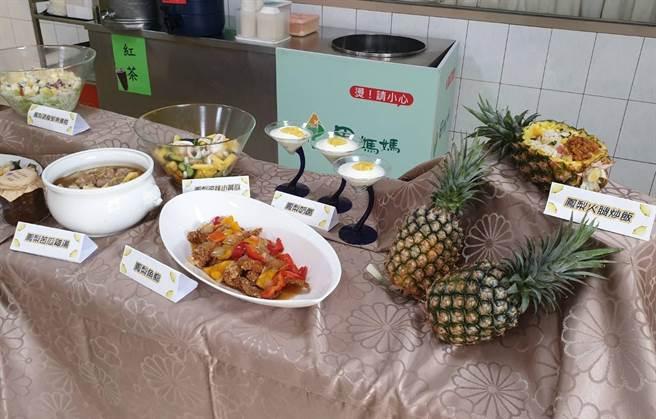官田區農會田媽媽餐廳研發鳳梨、菱角料理待客。(官田農會提供/劉秀芬台南傳真)