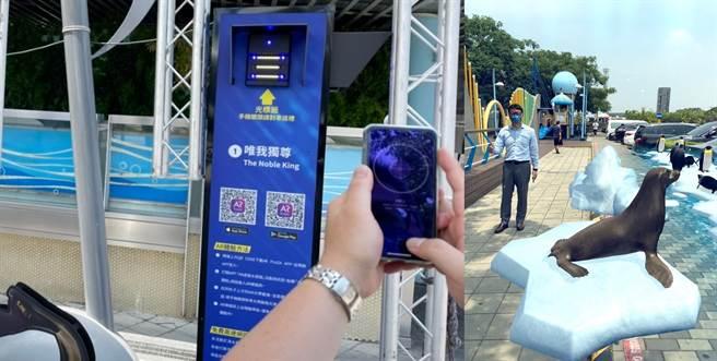 新東陽清水服務區舉行「與鯊共舞在清水」特展開幕典禮,由遠傳電信建置5G網路,結合擴增實境(AR)應用,透過手機掃描QR code,即能透過手機觀看AR動畫於天空中所展現的主秀鯊魚搭配交響樂曲演出。(遠傳電信提供/黃慧雯台北傳真)
