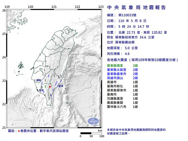 8日清晨05:24:14屏東縣霧台鄉發生規模4.6地震。(圖取自氣象局網頁)