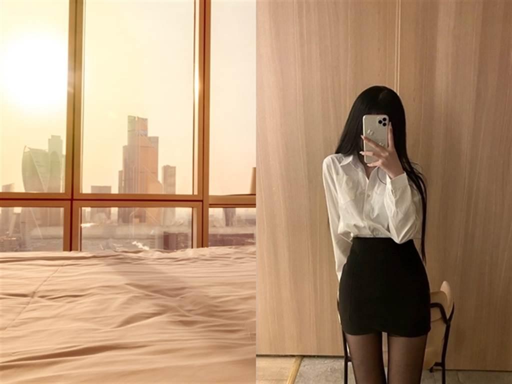 近來網路上流傳1部30秒的激情影片,影片中女主角與男伴在飯店內,面對大片落地窗從事性行為,她全程以背部入鏡,煽情內容引發討論。(左圖為示意圖/Shutterstock提供、右圖翻攝自當事人Twitter帳號)