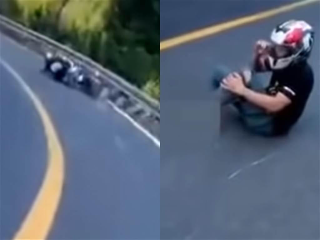 1名騎士在山路中以壓車連續過彎,疑似車身太傾斜導致失控自摔;目擊者上前關心狀況時,竟發現騎士的左腳踝開放性骨折,腳掌幾乎已脫離腳部。(圖/翻攝自八卦村-行車紀錄器影片上傳中心 youtube頻道)