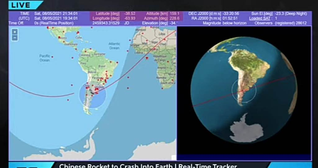 中國長征5B火箭殘骸墜落地球,引起全球的天文與太空觀測愛好者圍觀與議論。(圖/推特@jesusbodden)