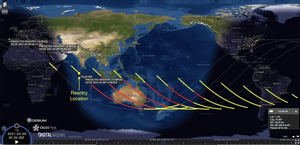 美國太空軍太空管制第18中隊繪製的長征5B火箭再入大氣層落點預估路線圖。(圖/推特@18SPCS)