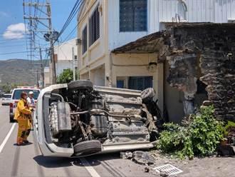 屏東滿州男駕駛恍神自撞車頭全毀 警一查竟是通緝犯