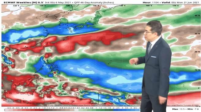 梅雨鋒面,也就是冷暖鋒交界處目前位在台灣北邊、大陸長江中下游附近,就是不下來台灣。(翻攝自 彭啟明臉書)