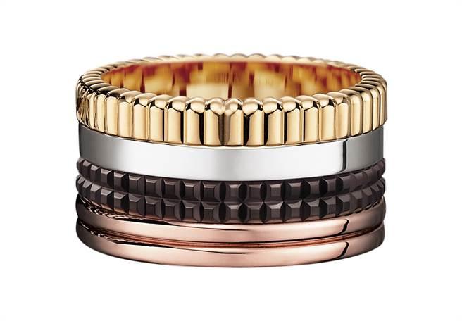 Quatre Classique系列戒指,白金、黃金和玫瑰金750材質、棕色PVD,17萬1500元。(Boucheron提供)