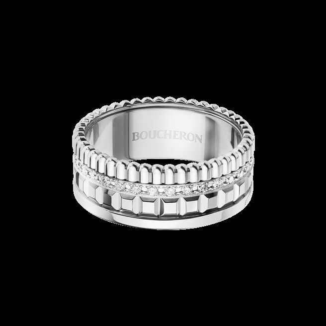 Quatre Radiant系列戒指,白金750材質、鑲嵌鑽石,25萬1000元。(Boucheron提供)