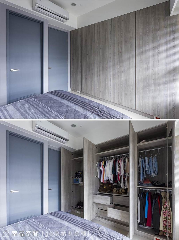 現今的系統櫃設計,已經可以依循使用者需求採客製化訂做,建議每個櫃子的單獨寬度,不要超過60公分,板材比較穩定,也較不易變型。(圖片提供/go收納系統櫃)