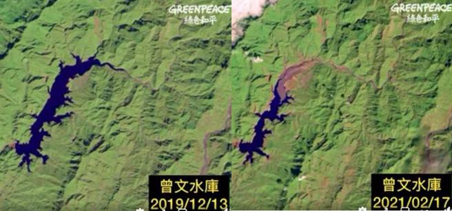 圖為曾文水庫2019年與2021年的空拍圖,水庫面積大縮水。(翻攝自 Greenpeace 綠色和平FB )