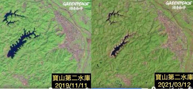 寶山第二水庫縮水最多,蓄水率甚至只剩10%。(翻攝自 Greenpeace 綠色和平FB)