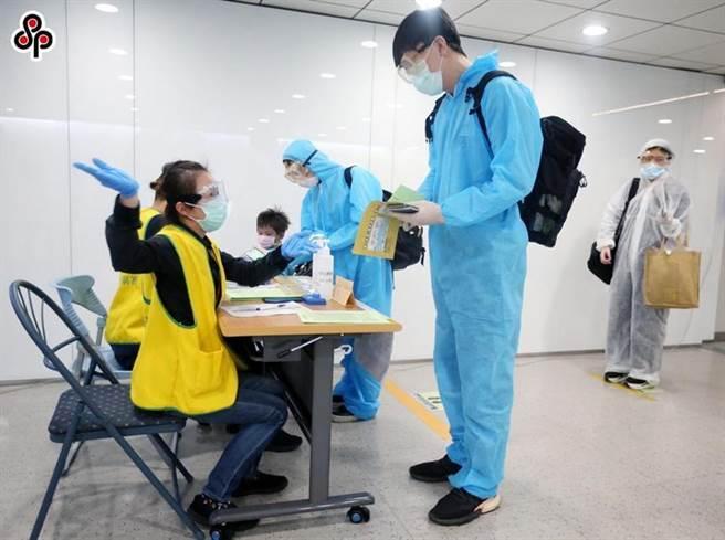 圖為近日海關在旅客入境前查驗健康聲明書的情況,不少旅客全程穿戴防護衣及護目鏡,降低機上感染的風險。(圖/本報系資料照)