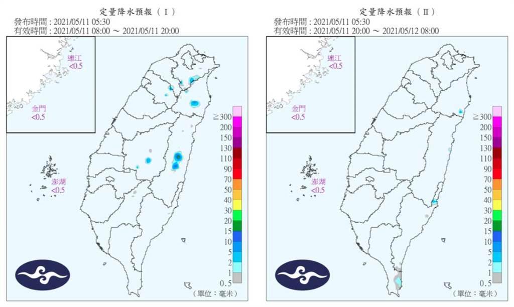 圖為定量降水預報,今天台灣幾乎無雨,這狀況至少持續到下周一、二。(翻攝自 氣象局)