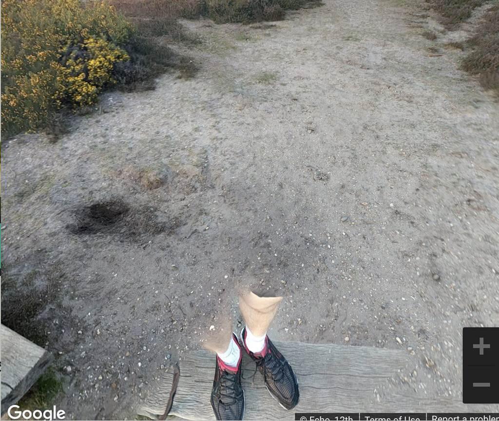 英國一名女子好不容易找到夢想中的房子,沒想到Google實景圖卻出現一雙詭異的斷腿,嚇得她花容失色。(圖/翻攝自Google Maps)