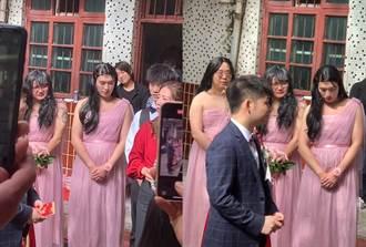 史上最壯伴娘團 穿粉色禮服嬌羞低頭 網見真面目全傻了