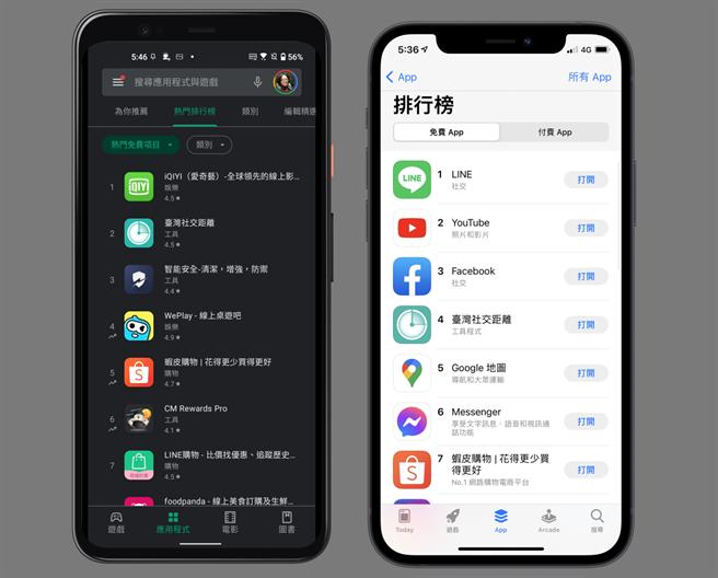 台灣社交距離app今(11)日在Google Play Store以及App Store的排名。(黃慧雯製)