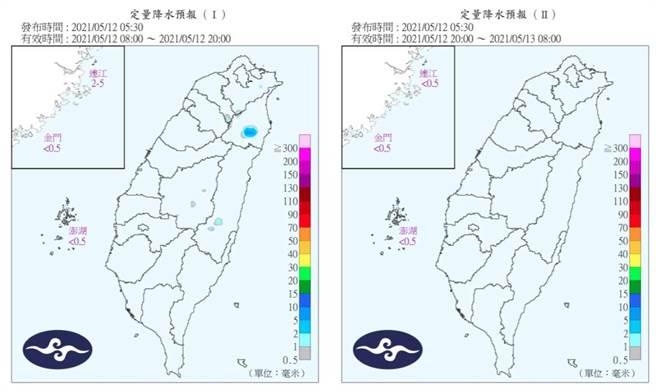 圖為今天的定量降水預報,幾乎看不到雨。(翻攝自 氣象局)