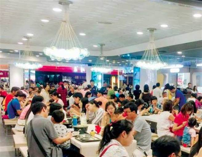 若發布疫情警戒第三級,餐廳將不得再有5人以上聚餐。圖為美食街。(資料照)