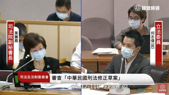 民進黨立委何志偉(右)質詢司法院副秘書長葉麗霞。(國會頻道截圖)