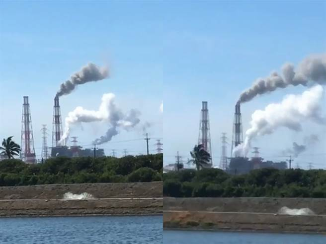 有民眾直擊該電廠的2座煙囪目前仍冒出濃密白煙與黑煙,不時還發出像是洩氣般「沙沙」巨響。(圖/翻攝自臉書「記者爆料網」)