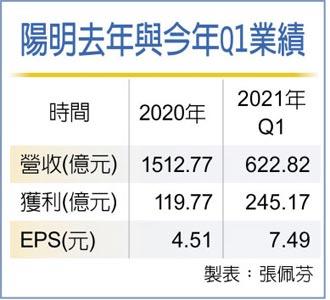 陽明首季EPS 7.49元 稱霸貨櫃三雄