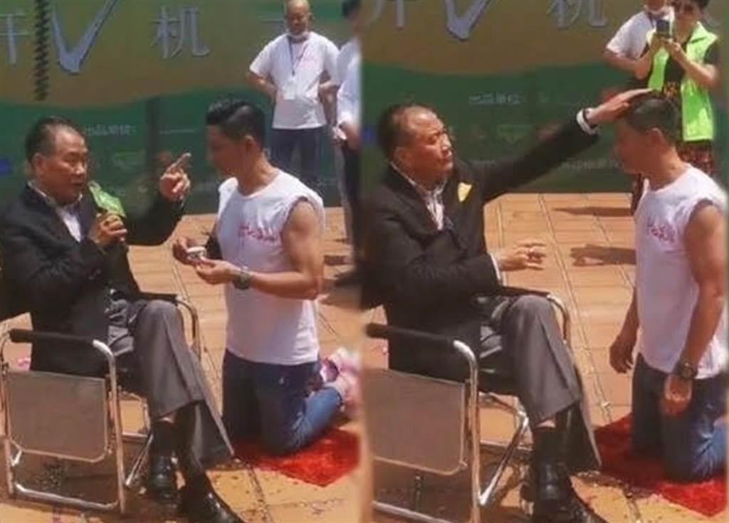 林敬剛直接在萬梓良面前跪拜他為師。(圖/翻攝自微博)