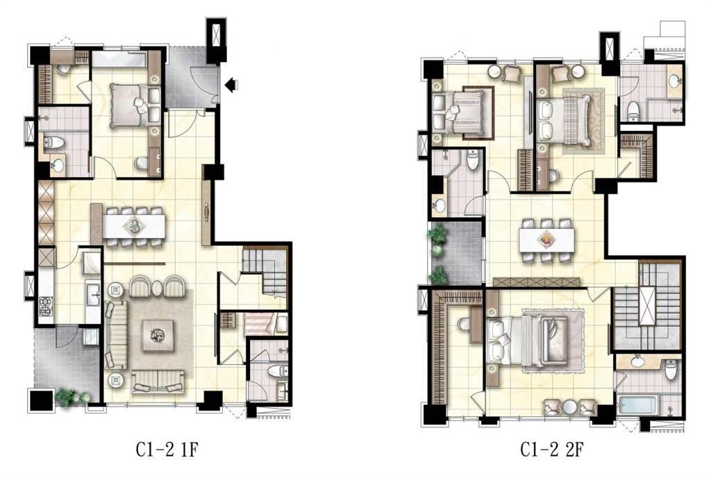冠德微山丘-C1-2戶 1-2樓傢配示意圖