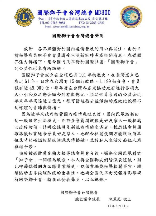 國際獅子會台灣總會對於前會長確診發出聲明,直指是前會長私人生活,獅子會並無權干涉。(翻攝照片)