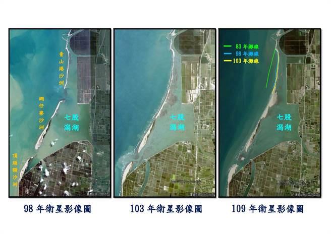 根據衛星影像分析,七股區青山港沙洲2016年至2020年全線則呈現穩定趨勢。(水利局提供/劉秀芬台南傳真)