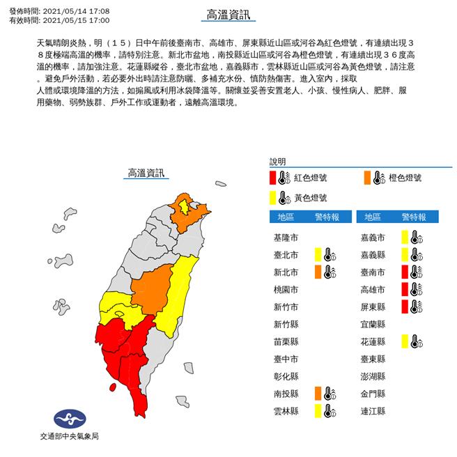 氣象局針對雙北、南投以南縣市,及花蓮縣發部高溫警示,有連續出現36度高溫的機率。(氣象局提供)