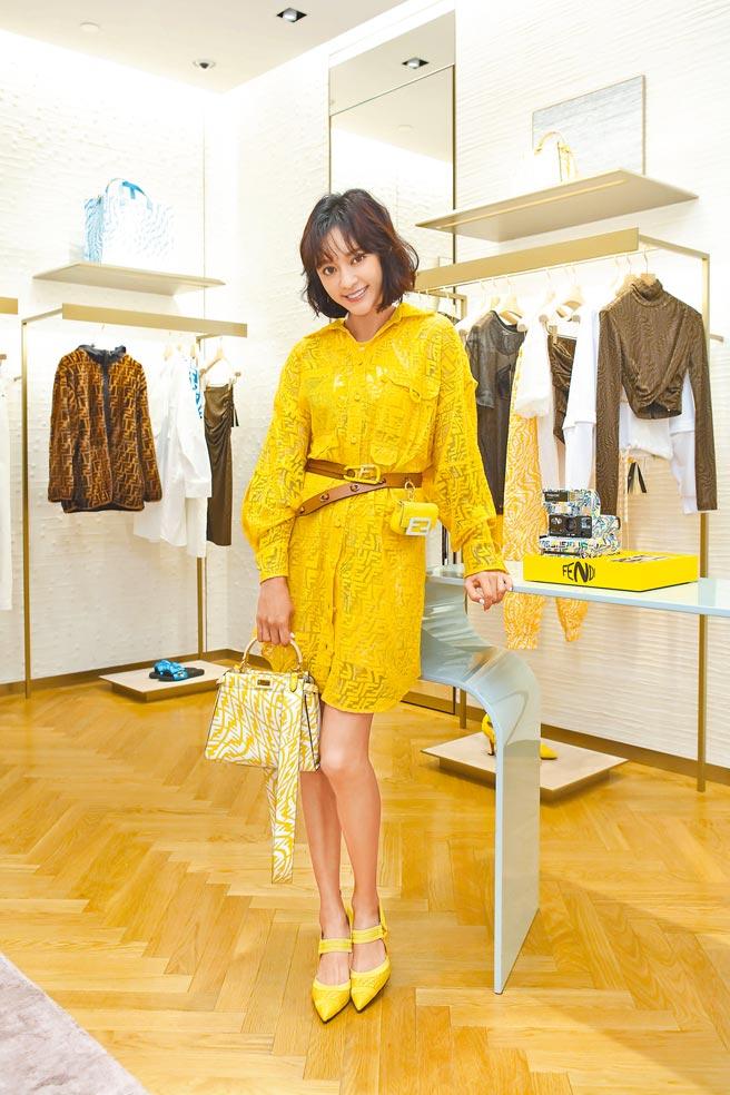 陳意涵換上Fendi Vertigo亮黃色洋裝,更顯搶眼。Fendi Vertigo蕾絲透視洋裝6萬7000元、Fendi造型Peekaboo 14萬8000元、Colibri黃色高跟鞋3萬2900元。Nano Baguette 3萬2500元、Fendi造型皮帶2萬4500元。(Fendi提供)
