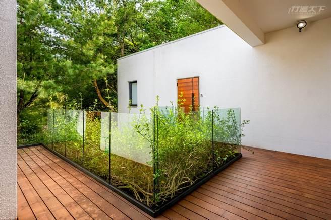 八角綠意造景設計巧思多,Villa外以玻璃和植物遮掩不美觀的冷氣。(圖/行遍天下提供)