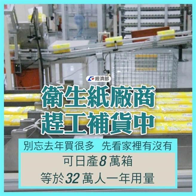 疫情警戒升至第三級,經濟部盤點,國內衛生紙原物料尚有1到2月庫存,防疫酒精仍有45萬瓶。(圖:經濟部提供)