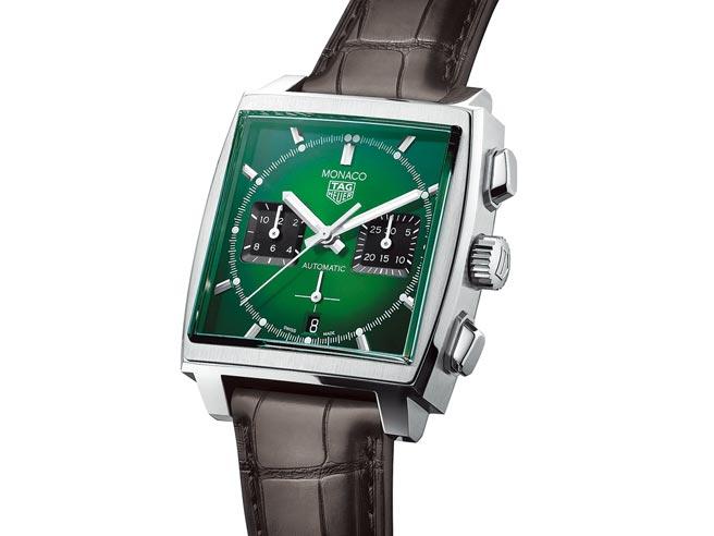 泰格豪雅MONACO綠面自動腕表,21萬8700元。(TAG Heuer提供)