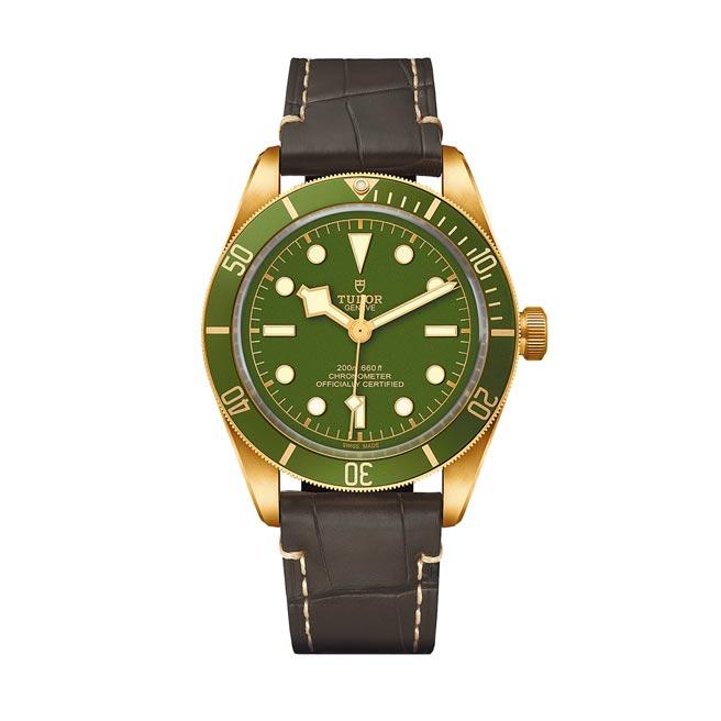 帝舵表18ct黃金表殼搭配綠色表盤Black Bay Fifty- Eight 腕表,53萬4500元。(ROLEX提供)