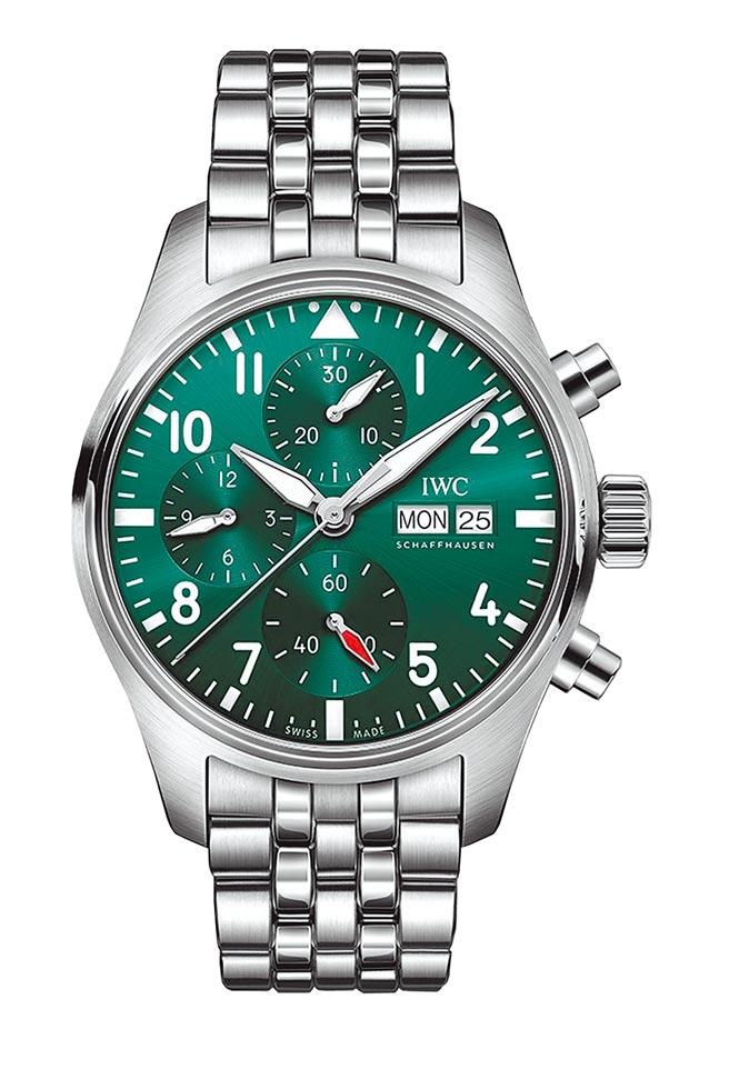 IWC飛行員系列計時腕表41綠面表,23萬7000元。(IWC提供)