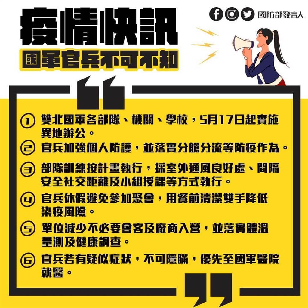 國防部公告疫情快訊。(圖/摘自國防部發言人臉書)