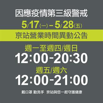 疫情爆發 京站明起縮短營業時間