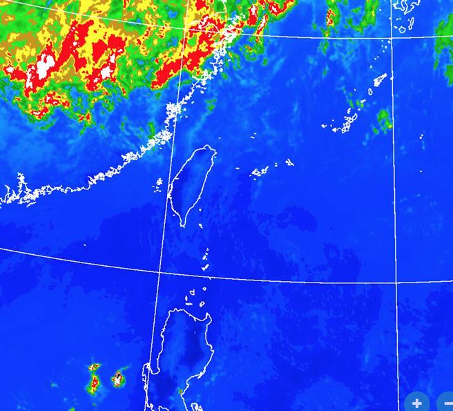 台灣上空雲層稀少。(翻攝自氣象局)