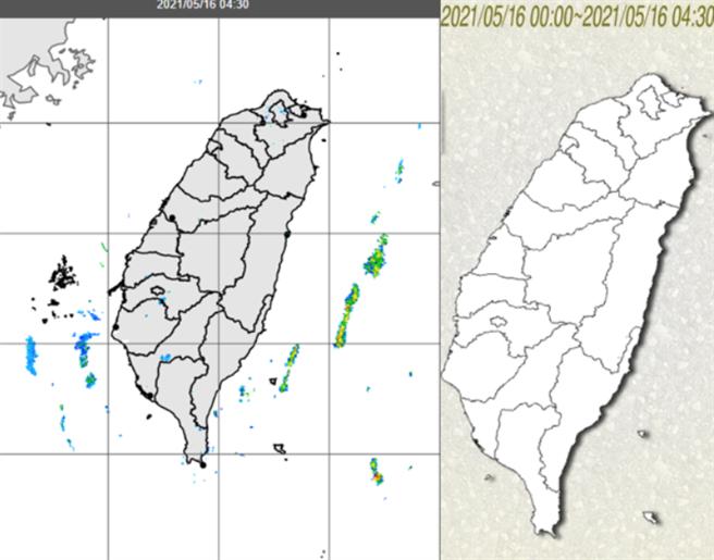 台灣東西兩側海面上有零星回波消長(左圖),但各地無降雨(右圖)。(翻攝自 氣象局)
