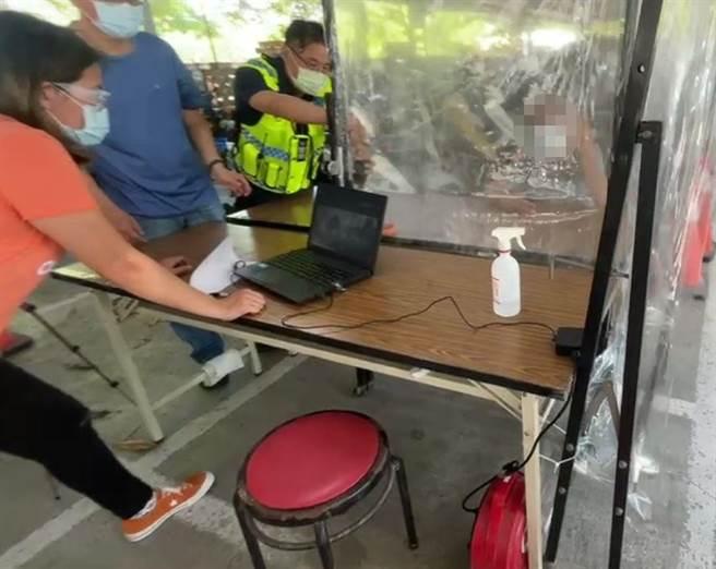 警方與台南地檢署合作視訊偵訊,成為台南市提升至準三級防疫警戒的首例。(新營警分局提供/張毓翎台南傳真)