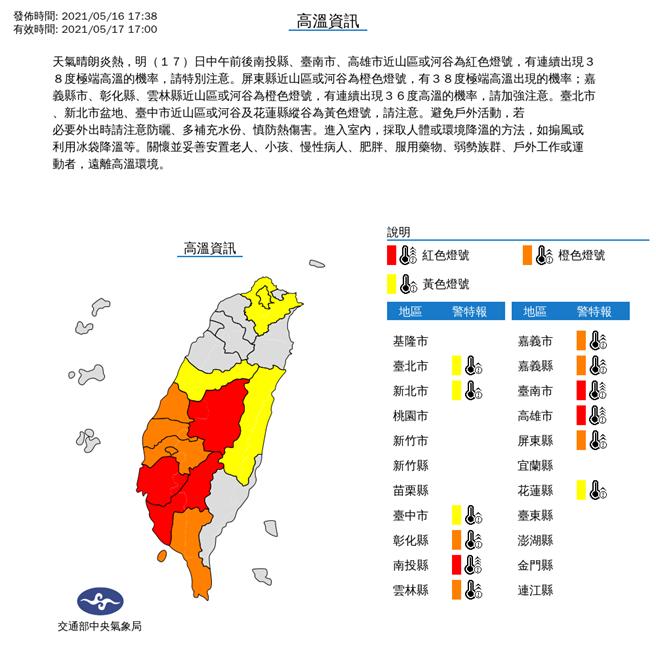 氣象局表示,明天(17日)西半部高溫普遍可達34、35度,局部近山區、河谷及縱谷溫度會更高,來到36度,甚至38度以上。(氣象局提供)