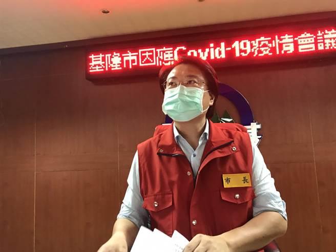 基隆市長林右昌說,今天新增的案例都有明確感染源,但仍持續進行調查、釐清狀況。(陳彩玲攝)