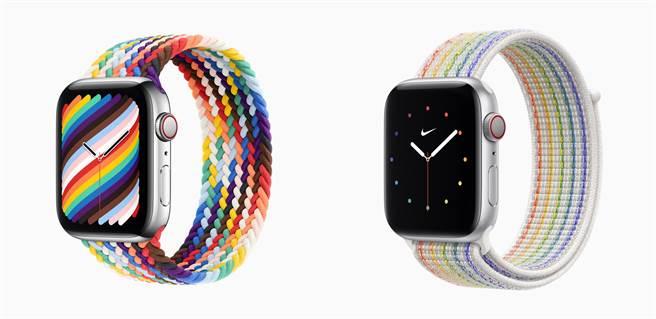 蘋果推出全新彩虹版錶帶(左)與彩虹版 Nike 運動型錶環。(摘自蘋果官網)