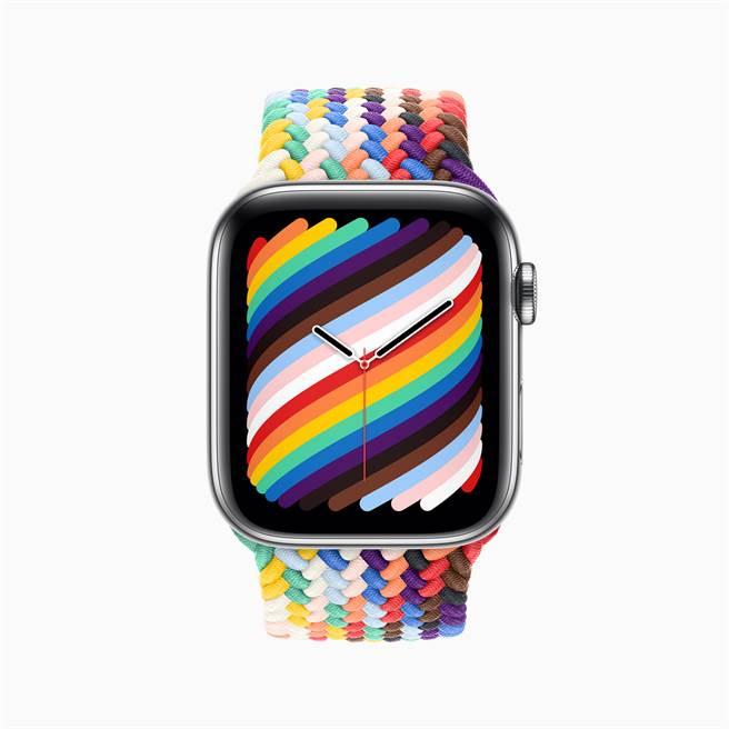 為搭配全新彩虹版錶帶,蘋果也推出新的彩虹版錶面。(摘自蘋果官網)