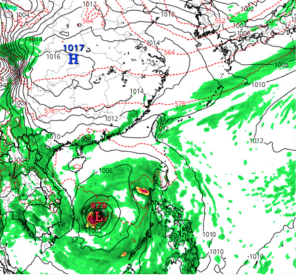 美國模式模擬亦顯示,有滯留鋒南下到台灣,但結構更弱,同時南海有熱帶擾動發展。(圖擷自tropical tidbits)
