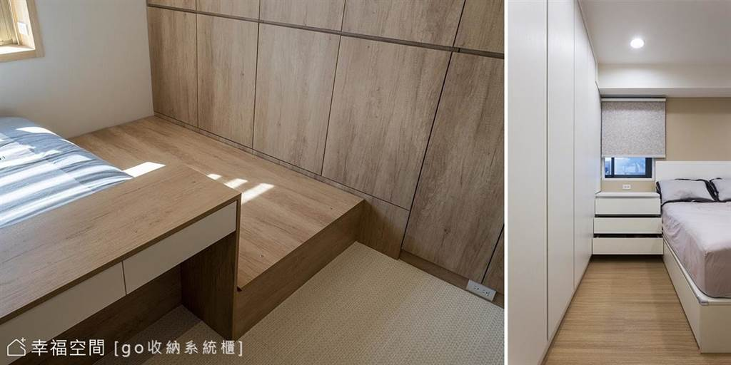 像是側臥室的走道空間,若單邊多90公分,就能擺放一個床墊,如果不足90公分,有70公分的空間也能放上瑜珈墊,也就可以睡一人。(圖片提供/go收納系統櫃)