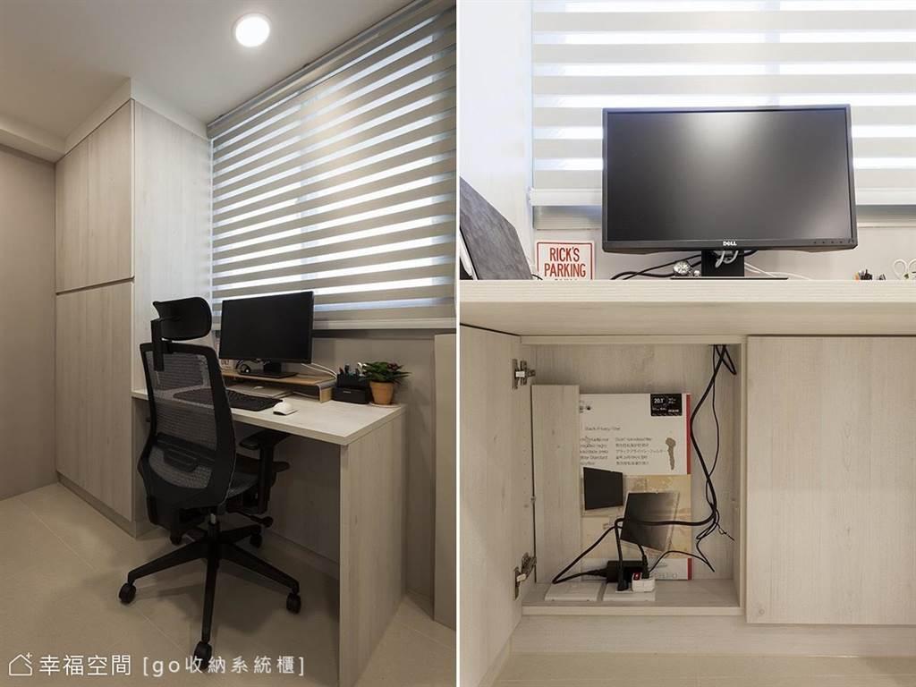 針對孩子的書桌,可根據靠牆的深度,再做一個薄櫃在腳前,以方便收摺網路線、電源線、耳機或擺放CD。(圖片提供/go收納系統櫃)