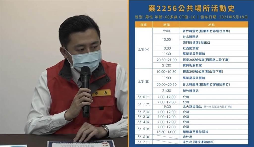 新竹市長林智堅18日下午說明案2256的足跡。(新竹市政府提供/陳育賢新竹傳真)