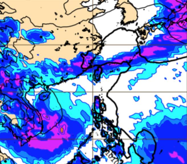 最新歐洲模式模擬下周二(25日)地面氣壓及降水圖,顯示滯留鋒南下觸及台灣。(圖擷自ECMWF)